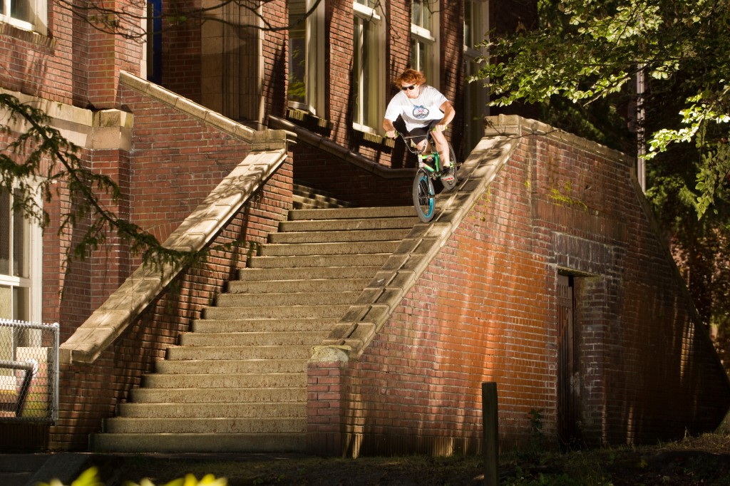 Jake Ortiz bumpy double tire straight to 13 stair gap In Seattle WA.