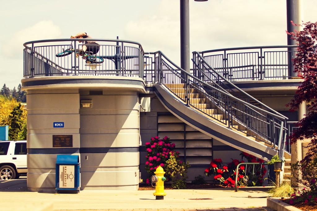 Jake Ortiz Crusin around this 2 story curved railing.